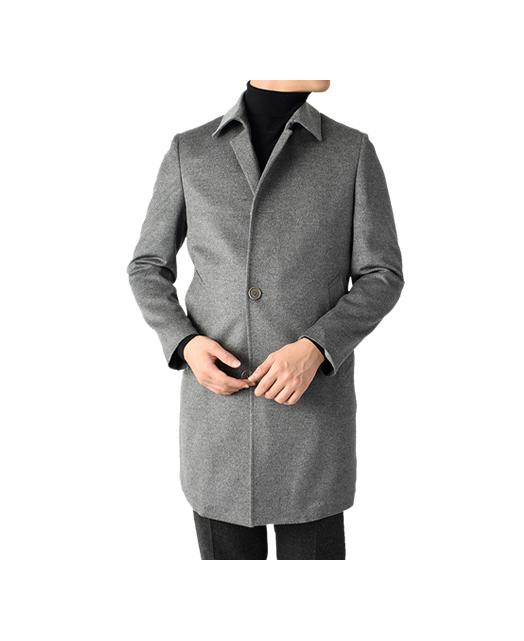 羊绒混纺竖领大衣
