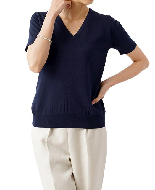 V领半袖针织衫